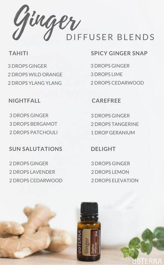 Essential Oil diffuser blends featuring Ginger from doTERRA