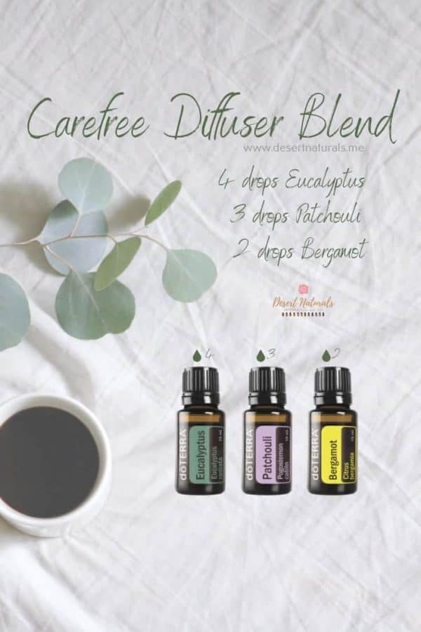 essential oil diffuser blend with eucalyptus, bergamot and patchouli essential oils from doTERRA